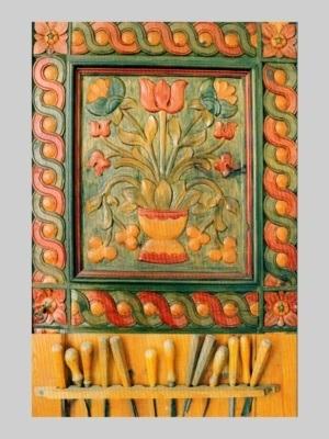 Postkort - Nanna Aakjær-billedskærer. Udskåret blomstermotiv